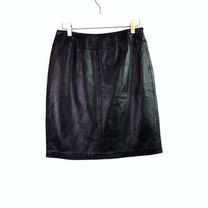 Croft & Barrow 6 100% Lambskin Leather Skirt Black